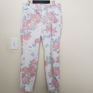 Old Navy White & Pink Floral Pixie Jeans